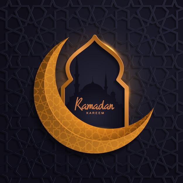 Ramadan kareem avec mosquée lune d'or islamic Vecteur Premium