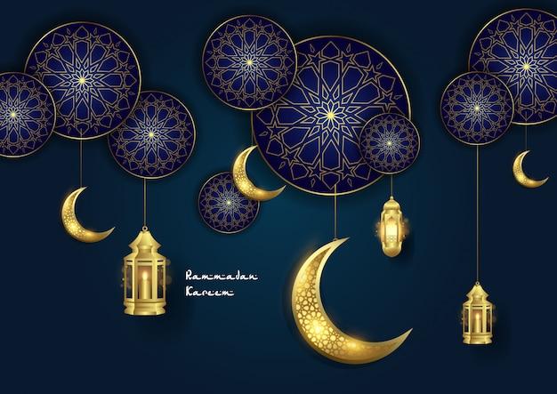 Ramadan kareem ornement islamique avec lune et lanterne Vecteur Premium