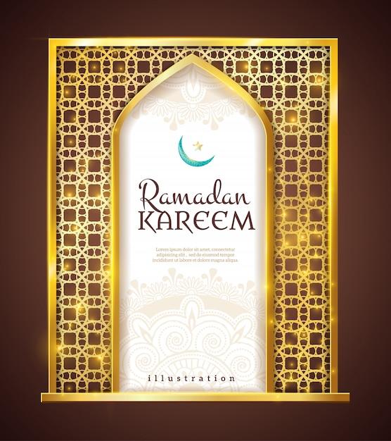 Ramadan Kareem Ornement Traditionnel Cadre Doré Vecteur gratuit