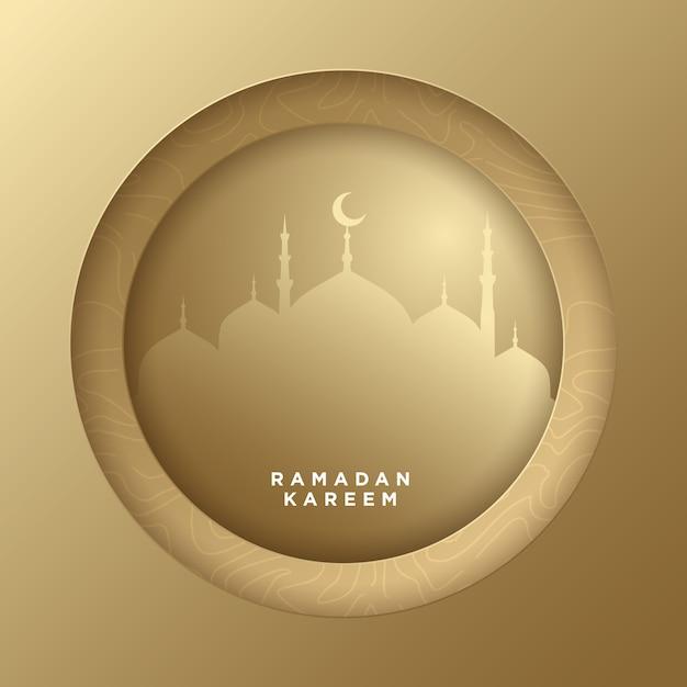 Ramadan Kareem Paper Art Fond Islamique Vecteur Premium
