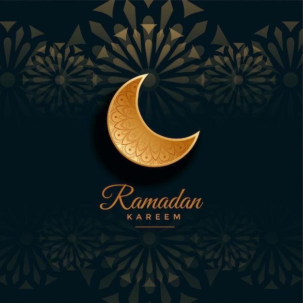 Ramadan Kareem Salutation Avec Lune Dorée Vecteur gratuit