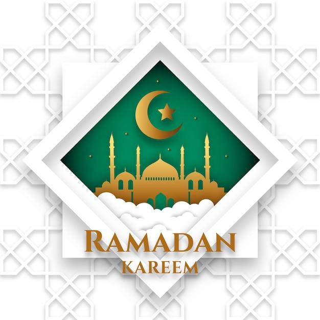 Ramadan Kareem Style Papier Eid Mubarak Vecteur gratuit