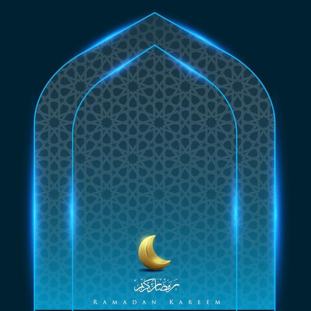 Ramadan karim avec fond clair porte de la lune Vecteur Premium