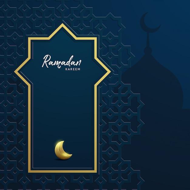Ramadan karim fond avec mosquée Vecteur Premium