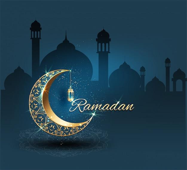 Ramadan karim avec orné d'or Vecteur Premium