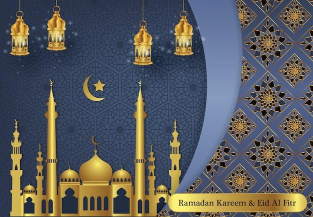 Ramadan moderne kareem et heureux eid mubarak fond Vecteur Premium