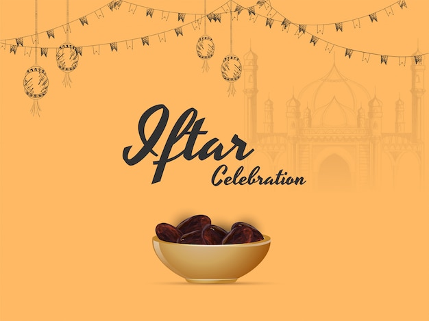 Ramadan mubarak, concept du parti iftar. Vecteur Premium