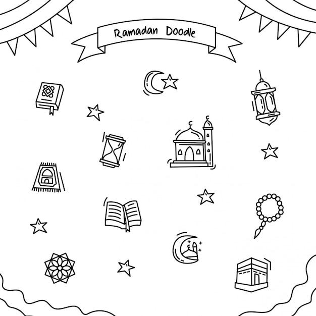 Ramadan outline doodle Vecteur Premium