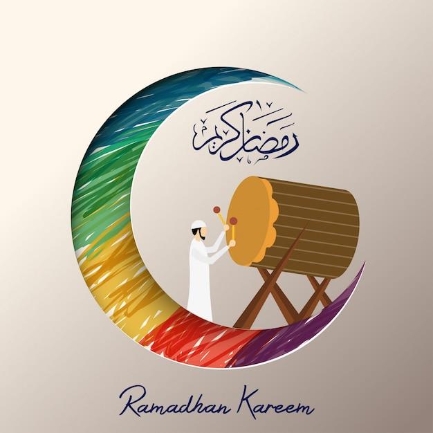 Ramadhan Kareem Avec Homme Musulman Jouant Bedug Vecteur Premium