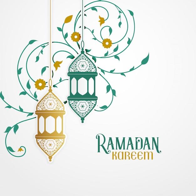Ramdan kareem design avec lanterne décorative et décoration florale islamique Vecteur gratuit