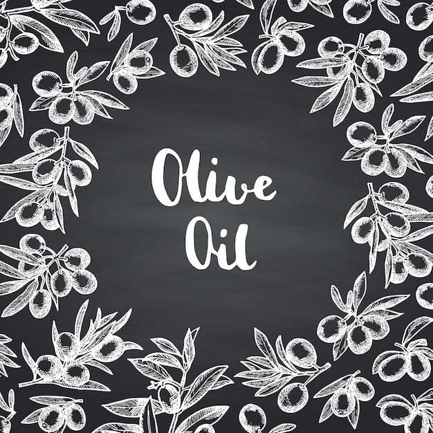 Rameaux d'olive dessinés à la main avec un espace de cercle au centre du texte sur un tableau noir Vecteur Premium