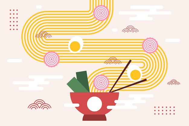 Ramen Aux Nouilles Et Oeuf Dans Un Bol Fond Japonais Vecteur Premium