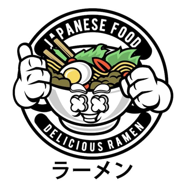 Ramen logo mascot cartoon Vecteur Premium