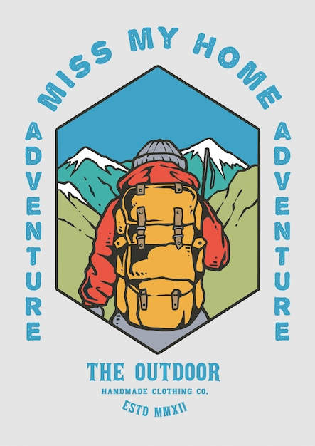 Randonneur homme randonnée avec illustration de la belle montagne rétro 80's Vecteur Premium