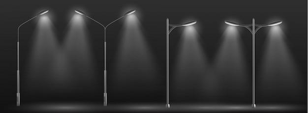 Rangée de lampadaires de la ville moderne Vecteur gratuit