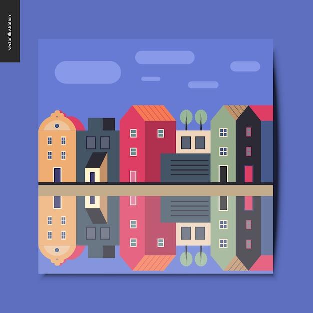 Une rangée de maisons de ville se tenant le long de la rive du canal avec des nuages dans le ciel bleu et leur reflet dans l'eau du canal Vecteur Premium