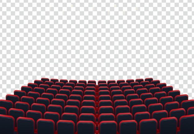 Rangées de sièges de cinéma ou de théâtre rouges devant un fond transparent Vecteur Premium