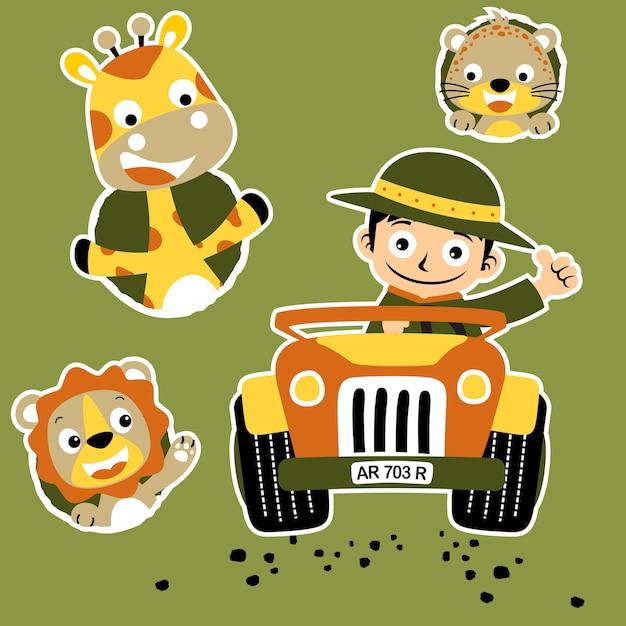 Ranger et vecteur de dessin animé animaux mignons Vecteur Premium