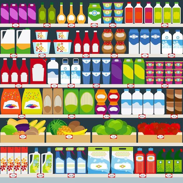 Rangez des étagères avec des provisions Vecteur Premium