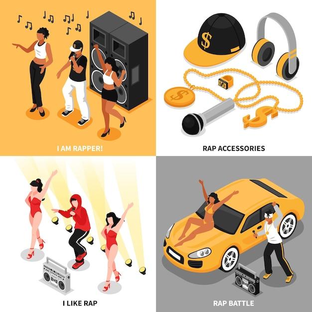 Rap 2x2 Concept Ensemble De Rappeurs Chanteurs Accessoires De Musique Rap Battle Et Fans Compositions Carrées Isométriques Vecteur gratuit