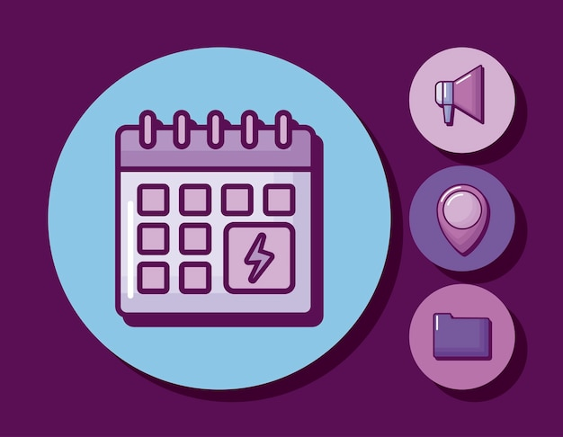 Rappel de calendrier avec des icônes définies Vecteur gratuit
