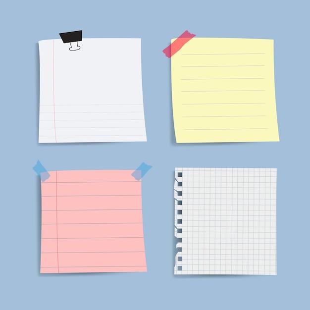 Rappel de papier vierge notes vectorielles ensemble Vecteur gratuit