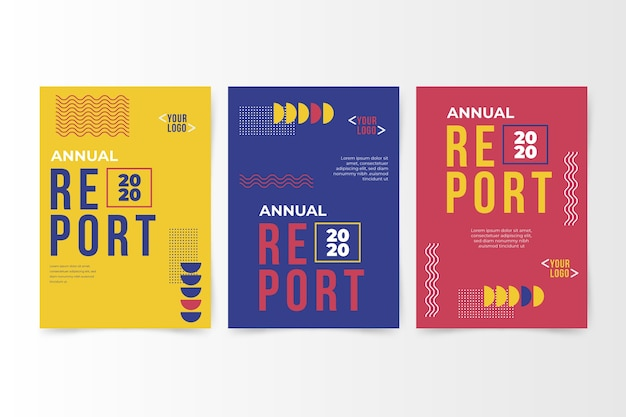 Rapport Annuel Abstrait Coloré Avec Memphis Vecteur gratuit