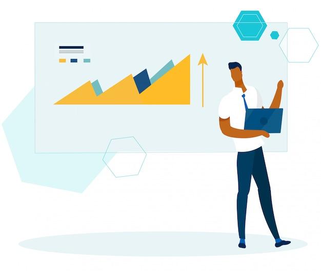 Rapport Financier D'analyste De Bureau Avec Vérification De L'ordinateur Portable Vecteur Premium