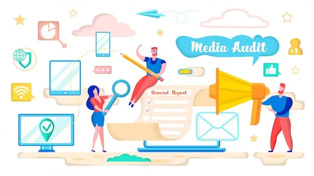 Rapport général de vérification des médias cartoon flat Vecteur Premium