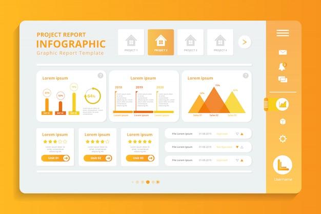 Rapport de projet infographique dans le modèle d'écran d'affichage Vecteur Premium