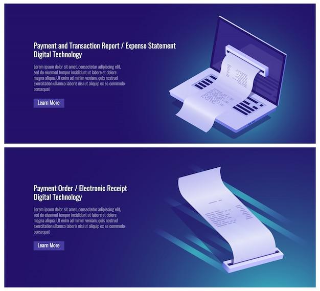 Rapport de transaction et de paiement, relevé de dépenses, ordre de paiement, reçu électronique Vecteur gratuit