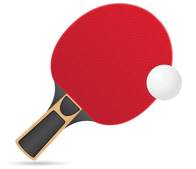 Raquette et balle pour l'illustration vectorielle de tennis de table ping pong Vecteur Premium