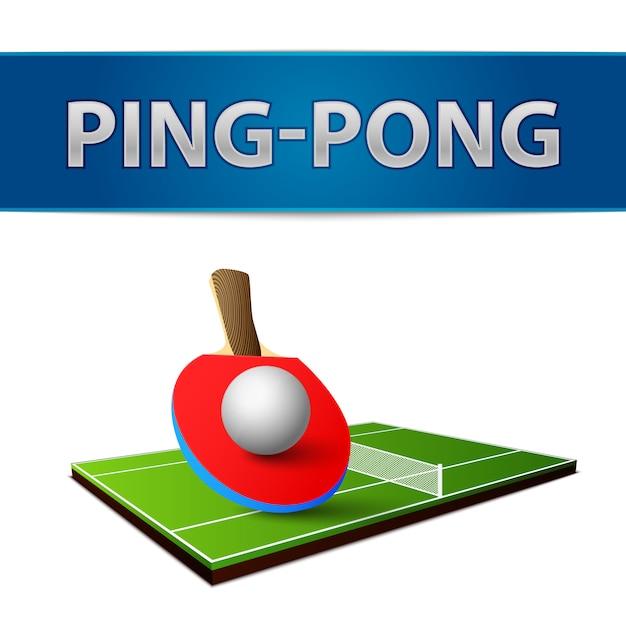 Raquettes de ping-pong de tennis de table réaliste avec emblème isolé Vecteur gratuit