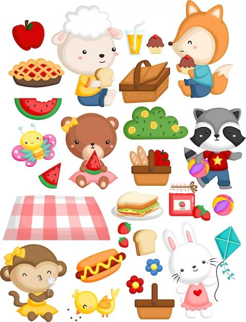 Rassemblement d'animaux dans un thème de pique-nique Vecteur Premium