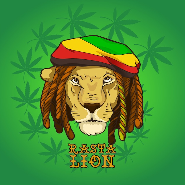 Rasta Bob Marley Lion Vecteur Premium