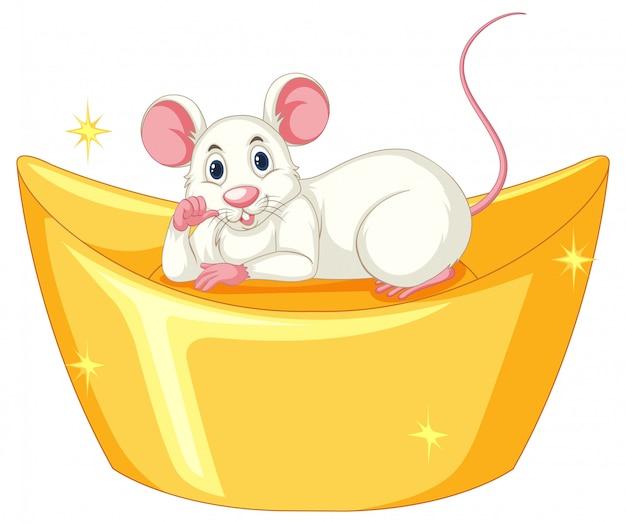 Rat Mignon Dormant Sur Une Barre Dorée Vecteur gratuit