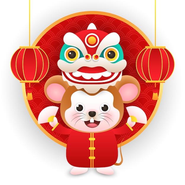 Rat Mignon Portant Un Costume Chinois Avec Dragon Dans Le Nouvel An Chinois Vecteur Premium