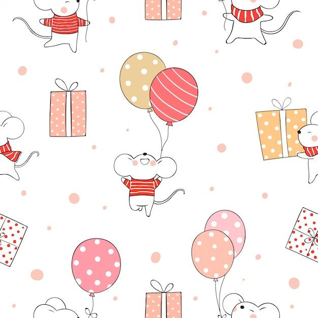 Rat modèle sans couture tenant le ballon pour noël et le nouvel an. Vecteur Premium