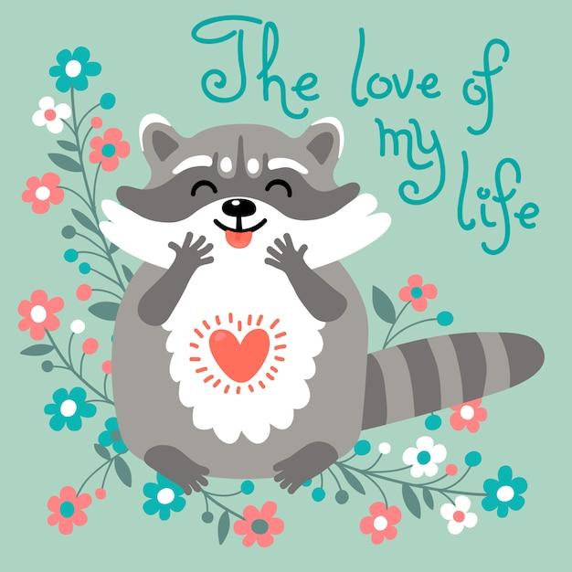 Le raton laveur mignon confesse son amour. Vecteur Premium