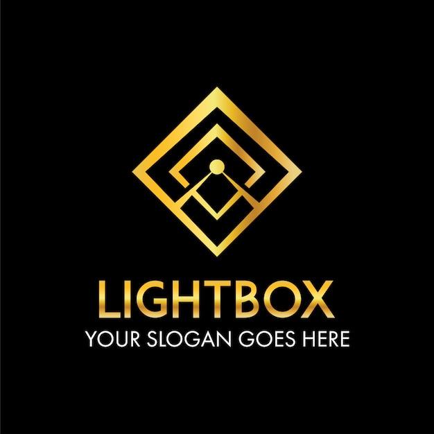 Rayon abstrait de la lumière du soleil sur le concept de logo cadre de boîte Vecteur Premium