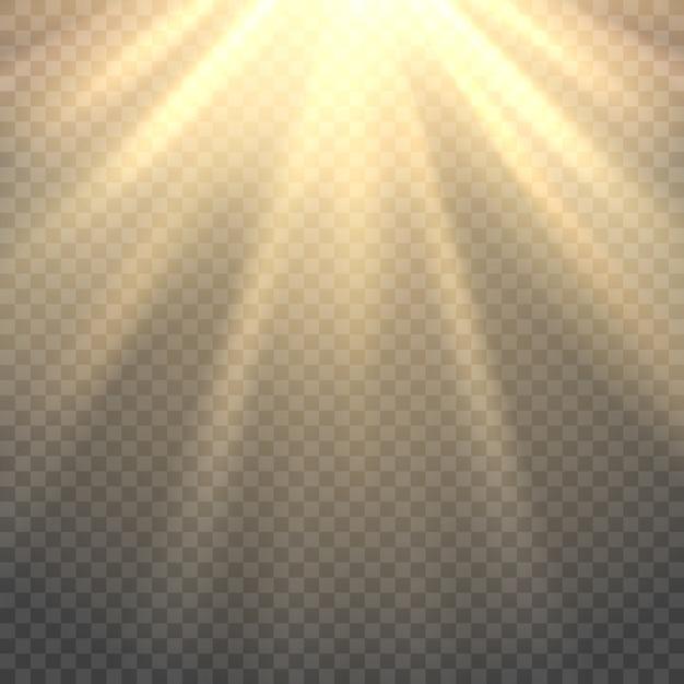 Rayonnement solaire sur fond transparent Vecteur Premium