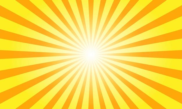 Les rayons du soleil avec sunburst sur fond orange. Vecteur Premium