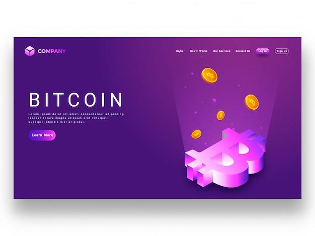 Rayons Numériques Provenant Du Symbole Bitcoin 3d Vecteur Premium