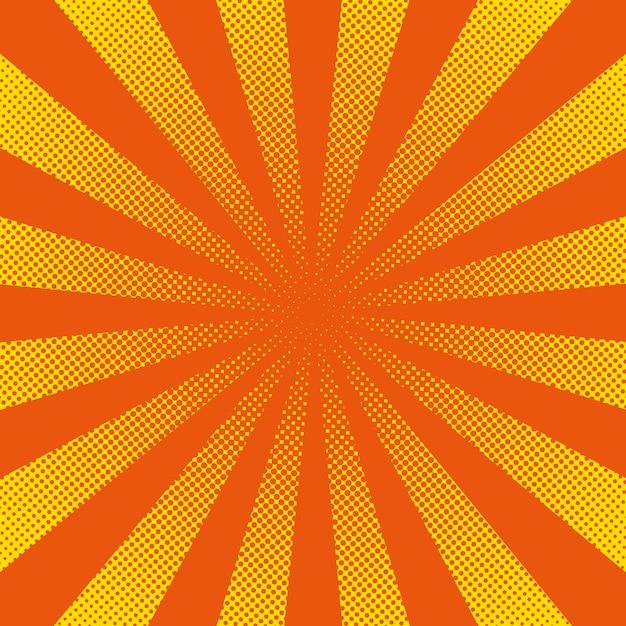Rayons de soleil avec des points jaunes Vecteur Premium