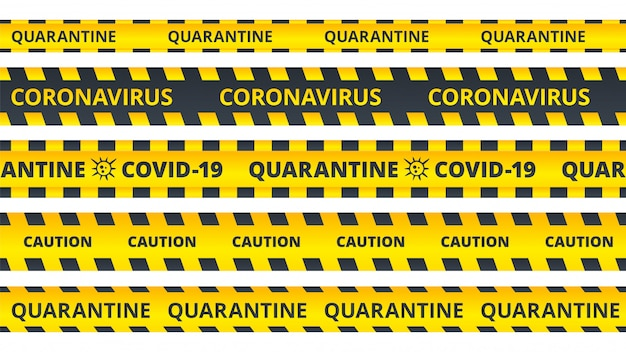 Rayures D'avertissement Jaunes. Coronavirus De Quarantaine Ou Ensemble De Rubans D'attention Covid19 Vecteur Premium