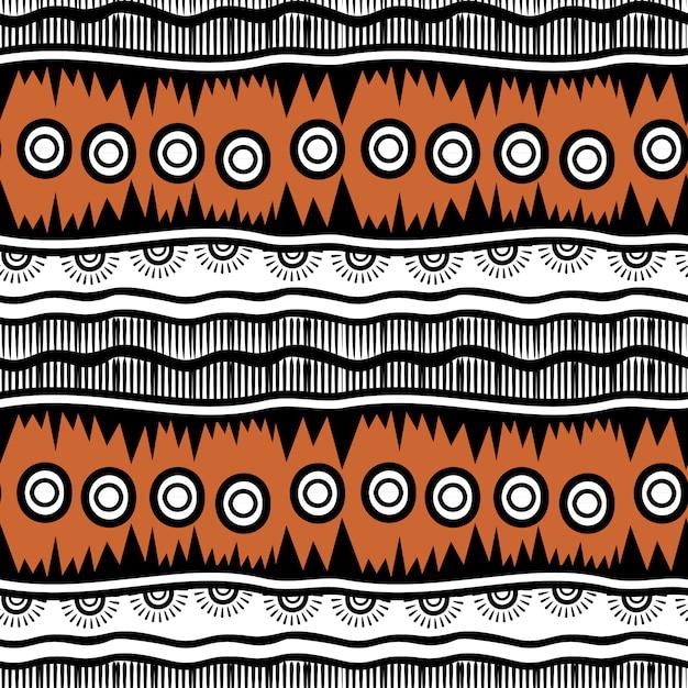 Rayures modèle dessiné sans couture tribal à la main Vecteur Premium