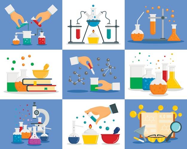 Réaction chimique Vecteur Premium