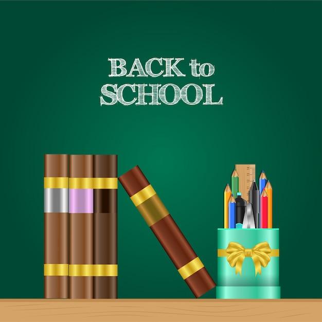 Réaliste back to school bannière et étui à crayons, livre sur la table Vecteur Premium