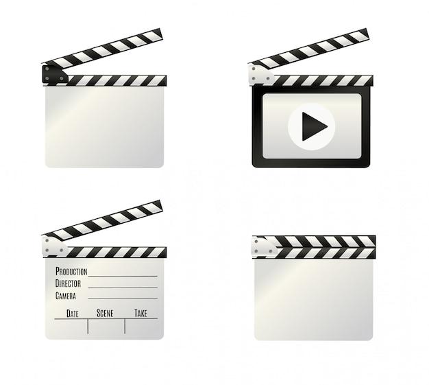 Réaliste Clapper.cinema.board Sur Un Fond Blanc.film.time. Illustration. Vecteur Premium