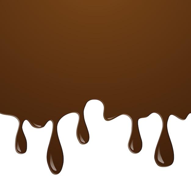 Réaliste d'éclaboussure de chocolat de crème glacée et fondre coulant et dégoulinant sur le fond blanc. Vecteur Premium